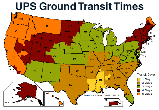 Delta Duck UPS Transit Time Map